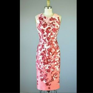 WHBM Modern Coral Pink Floral Sheath Dress 00